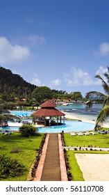 Tropical equator island resort with salt water pool. Located in Ilheu das Rolas, São Tomé e Príncipe