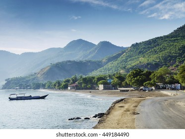 tropical exotic paradise coastline beach of dili in east timor at dawn