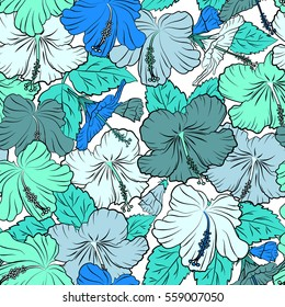 Tropical flowers, hibiscus leaves, hibiscus buds, seamless floral pattern on white background in blue colors. Vintage style.