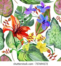 tropical flowers and leaves. Watercolor painting. Seamless background.