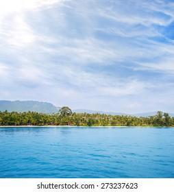 Tropical forest, sea coast and mountains. Siamese bay, Samui, Thailand.