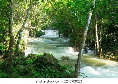 Tropical forest and water fall in Huai Mae Khamin, Thailand