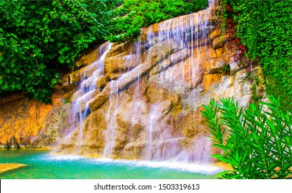 Tropical forest waterfall wall view. Forest waterfall pool. Tropical forest waterfall. Waterfall forest view