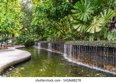Tropical fountain in National Orchid Garden in Singapore.