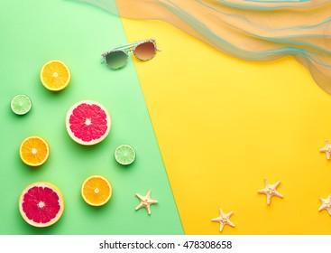Tropical Fresh Summer Set. Fashion Design. Fruit Citrus. Bright Color Stylish Sunglasses. Creative  fashionable Art. Minimal. Beach Concept.