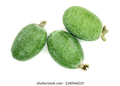 Tropical fruit feijoa Acca sellowiana isolated on white background. Top view. Flat lay pattern