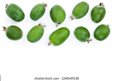 Tropical fruit feijoa Acca sellowiana isolated on white background with copy space for your text. Top view. Flat lay pattern