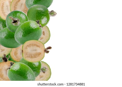 Tropical fruit feijoa (Acca sellowiana) on white background.