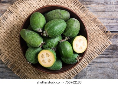 Tropical fruit feijoa . Healthy vegetarian food