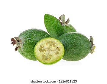 Tropical fruit feijoa with leaves on a white background. Acca sellowiana.