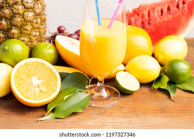 Tropical fruit with the fresh juice