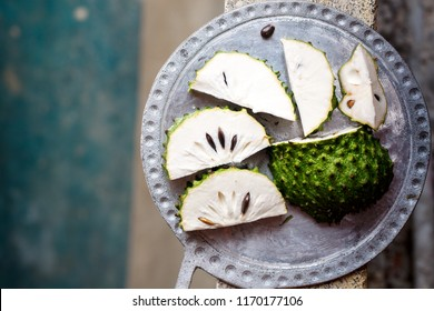 Tropical fruit of guanabana on a concrete background