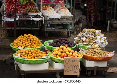 tropical fruit in market stall