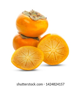 Tropical fruit persimmon. Kaki with leaves on white background