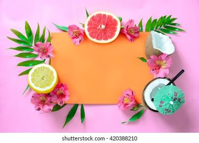 Tropical fruits background, beach wedding invitation card or summer banner