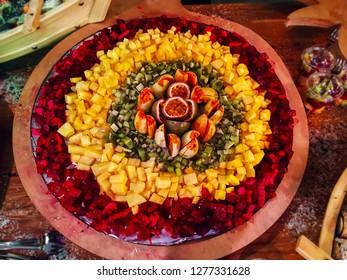Tropical fruits, fruit sliced. Mango, Kiwi, Passionflower, Pitaya
