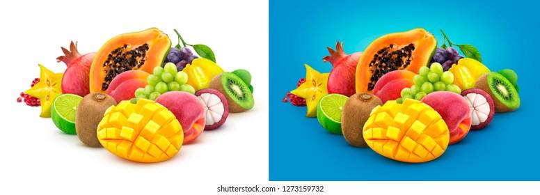 Tropical fruits. Heap of fresh exotic fruits isolated on white background, papaya, mango, pomegranate, carambola, mangosteen, kiwi, peach, grape