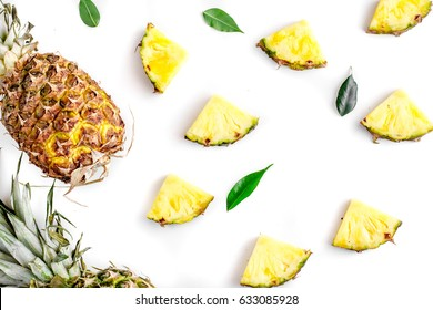 tropical fruits for summer design on white background top view