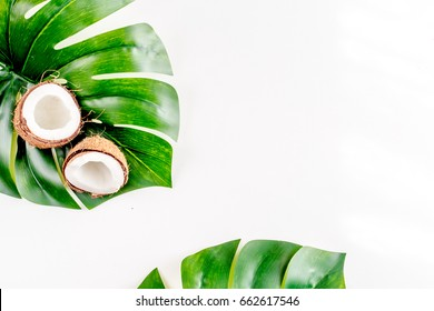 tropical fruits for summer design on white background top view mock-up