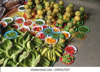 Tropical fruits and vegetable selling at Nadi produce Market Fiji.
