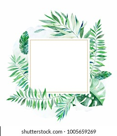 Tropical green floral frame with colorful tropical leaves. Tropical jungle collection.Perfect for wedding,frame,quotes,pattern,greeting card,logo,invitations,lettering etc