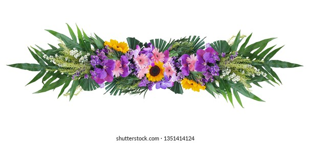 Tropical green foliage plant leaves with colorful flowers floral arrangement nature bush backdrop isolated on white background, clipping path included.