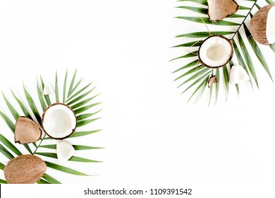 Tropical green palm leaf and cracked coconut on white background.  Nature concept. flat lay, top view