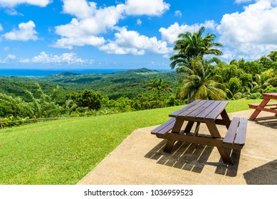 Tropical highland scenery on the Caribbean island of Barbados. It is a paradise destination with a white sand beach and turquoiuse sea.