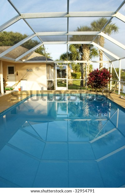 Tropical Home Swimming Pool Screen Cover Stock Photo (Edit ...