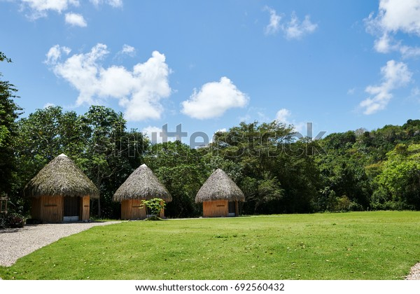 Tropical huts on an island with conical thatch roofs, weaved out of coconut palm tree fronds. Bright daylight, blue sky with puffy Cumulus clouds. Copy space.