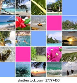 Tropical installation. Seychelles. The collection of photos. There is an empty seat for your text. Collage