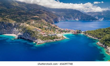 Tropical Ionian Greece Blue Lagoon island Aerial