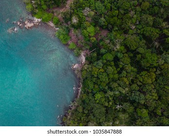 Tropical island from aerial view. Blue water seashore. Indian ocean. Koh Chang, Thailand