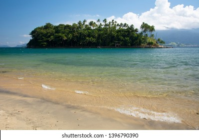 Tropical island, beach and blue sea at Ilhabela island, Brazil