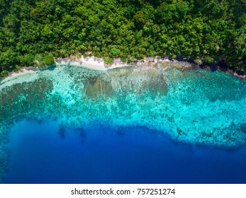 Tropical island beach paradise, top view of turquoise water and lush vegetation at secluded white sand beach.
