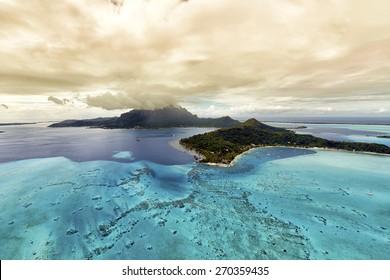 Tropical island at Bora bora - aerial view