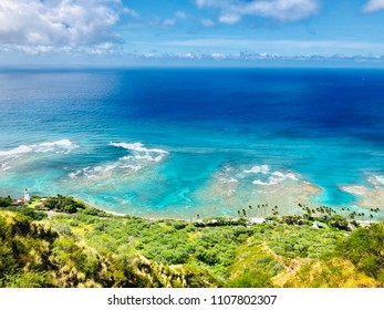 Tropical Island Coast Aerial View of Waikiki Beach Honolulu from Diamond Head