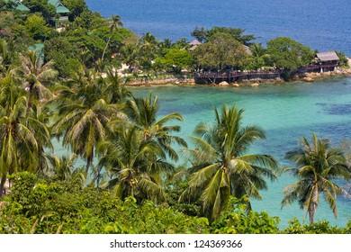 Tropical island Koh Phangan, Thailand. Top view.