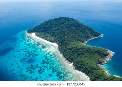 Tropical island of Koh Tachai in Similan national park Thailand aerial photograpy