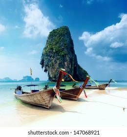 Tropical island landscape background. Thailand beach