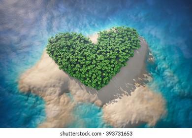 Tropical Island in Ocean with Trees as Heart. 3d rendering