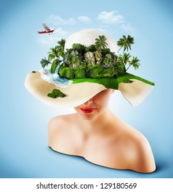 Tropical island on the hat of woman. Traveling