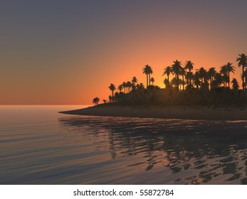 Tropical island with palm trees and intense sunset blue and orange glow.