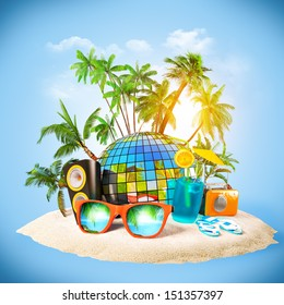 tropical island. Party at the beach. Traveling, vacation