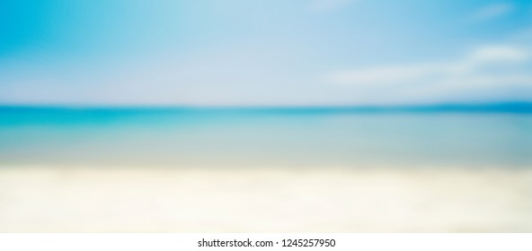 Tropical island sandy beach design background. Blurred abstract resort landscape with sun and sea. Holiday and traveling concept. Soft and light image.