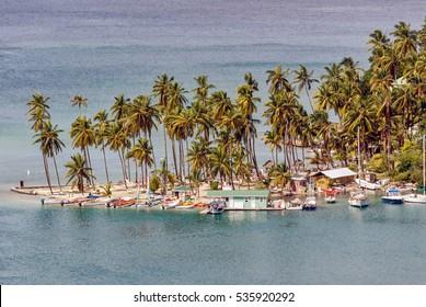 Tropical island scene at Marigot Bay, Saint Lucia