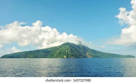 Tropical Island in The Sea Tambora Mountain Look At Satonda island