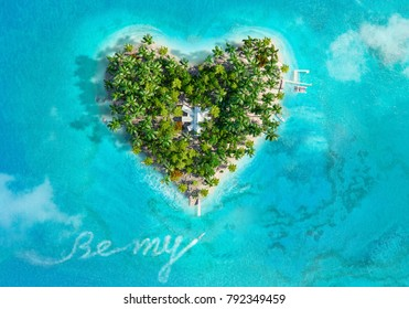 """Tropical island in the shape of heart and boat writing text """"Be my..."""", aerial view. 3D illustration."""