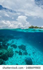 Tropical island split shot underwater, Raja Ampat, West Papua