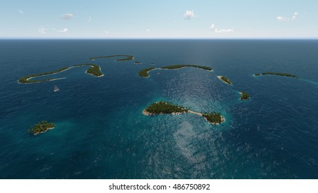 Tropical islands in ocean 3D rendering  illustration